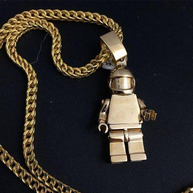 9ct solid Gold Lego Stig Pendant