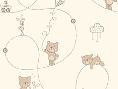Bear and Boo Geeky Nursery Wallpaper