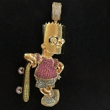 Geeky Bart Simpson Gold Diamond Pendant