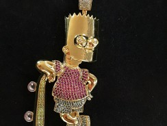 Geeky Bart Simpson Gold Diamond Pendant