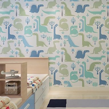 Geeky Dinosaur Nursery Wallpaper